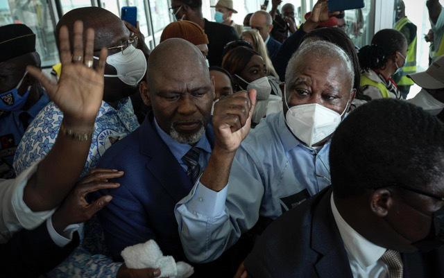 Laurent Gbabo à son arrivée à l'aéroport d'Abidjan, le 17 juin 2021